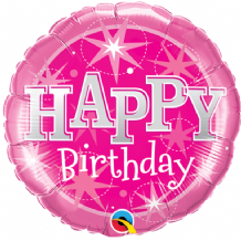 "Birthday Pink Sparkle Foil Balloon (9"" Air-Fill) 1pc"